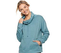 blonde girl in comfy cowl-neck sweatshirt