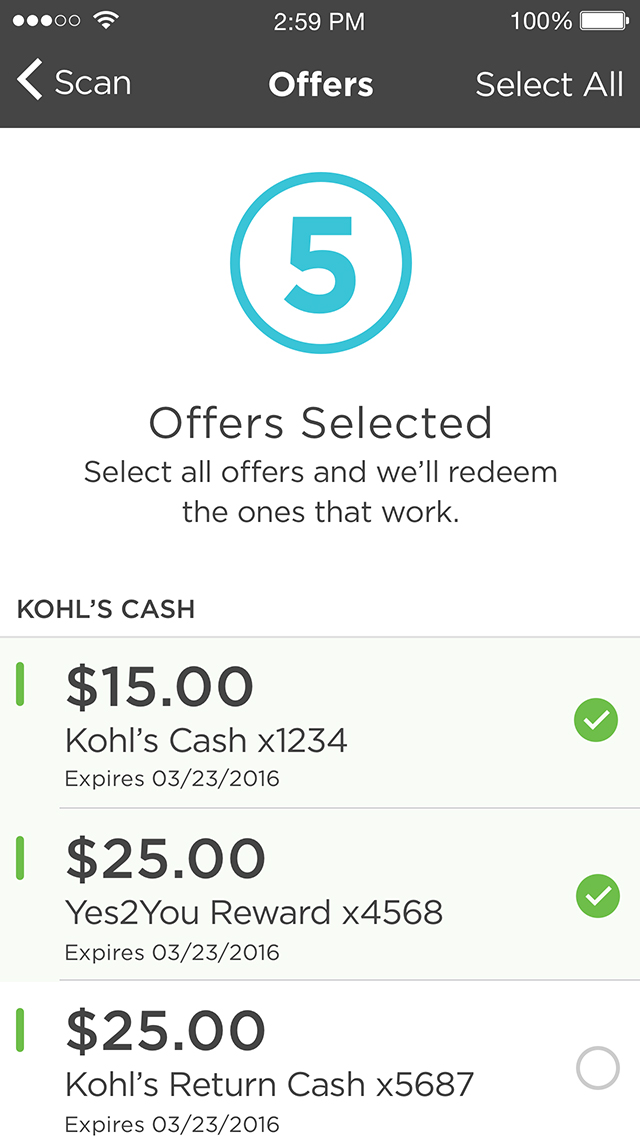 Kohl's Pay Offers Screen