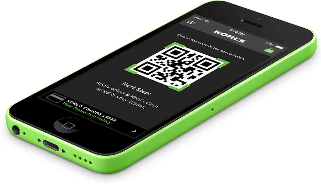 Green iPhone 5c Viewing QR Code in Kohl's Pay