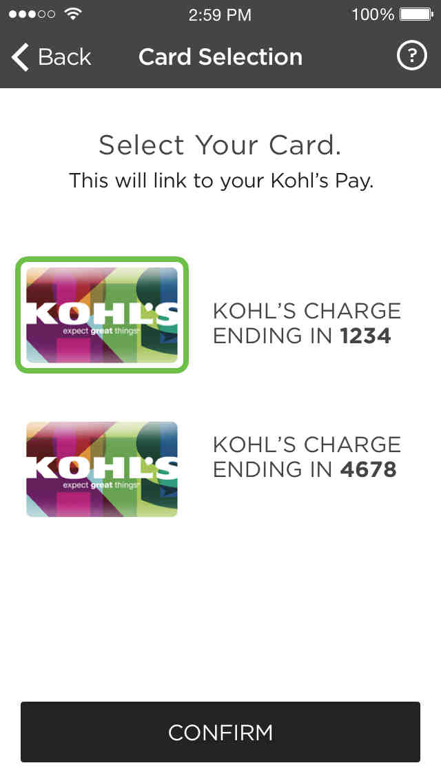 Kohl's Pay Card Selection Screen