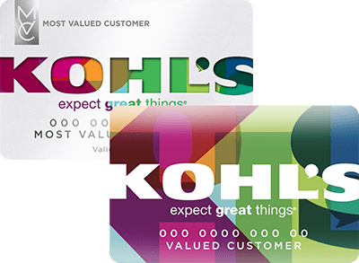 Kohl's charge cards stacked on top of one another