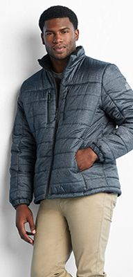 Men's gray puffer jacket with front zip pockets