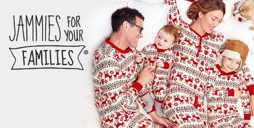 family wearing matching pajamas