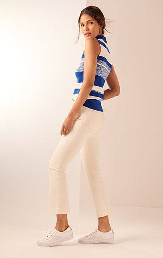 striped top with white jeans