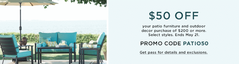 Patio Sale. Ends 5/21. Select Styles - Patio Kohl's