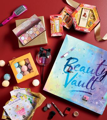 makeup assortments and a spray bottle