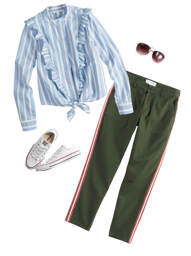 light blue striped blouse with frilly collar, boxy sunglasses, mauve gold-studded flats, brown trousers