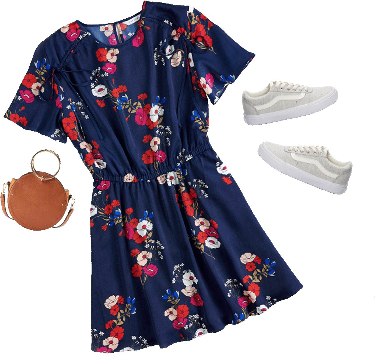 A canteen-shaped clutch purse, some fresh white Vans, a floral-patterned dress
