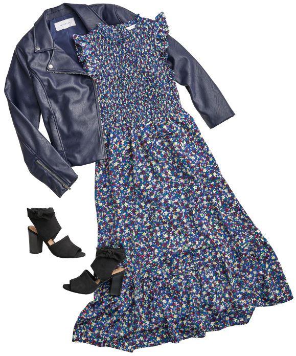 A leather jacket, a floral dress, bowtie adorned pumps