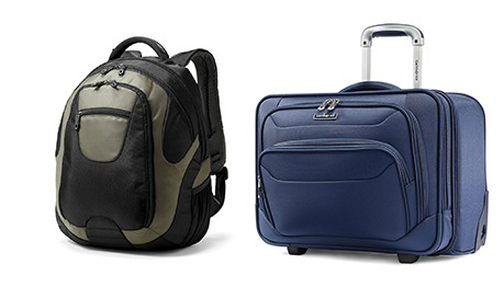 Laptop cases, one a backpack another a bag with wheels and a handle.