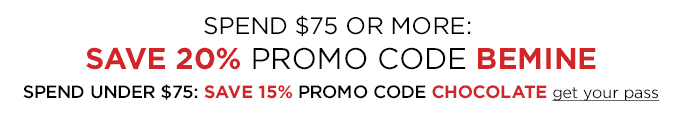 Spend $75 or more: Save 20% 