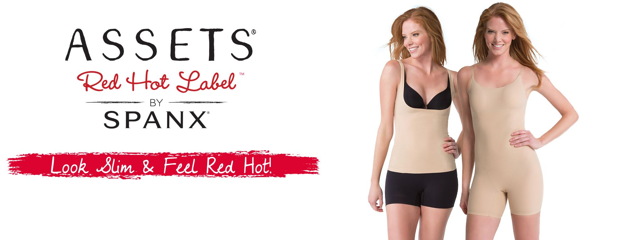 Assets Red Hot Label by Spanx Logo & 2 Spanx Models Wearing Spanx Attire
