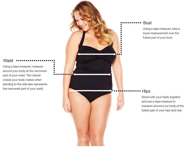 Waist: Using a tape measure, measure around your body at the narrowest part of your waist. The natural crease your body makes when bending to the side also represents the narrowest part of your waist. Bust: Using a tape measure, take a loose measurement over the fullest part of your bust. Hips: Stand with your heels together and use a tape measure to measure around your body at the fullest part of your hips and rear.