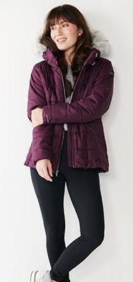 women's mauve winter jacket with hood