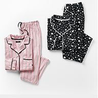 women's striped pajama set in pink, women's patterned pj set in black